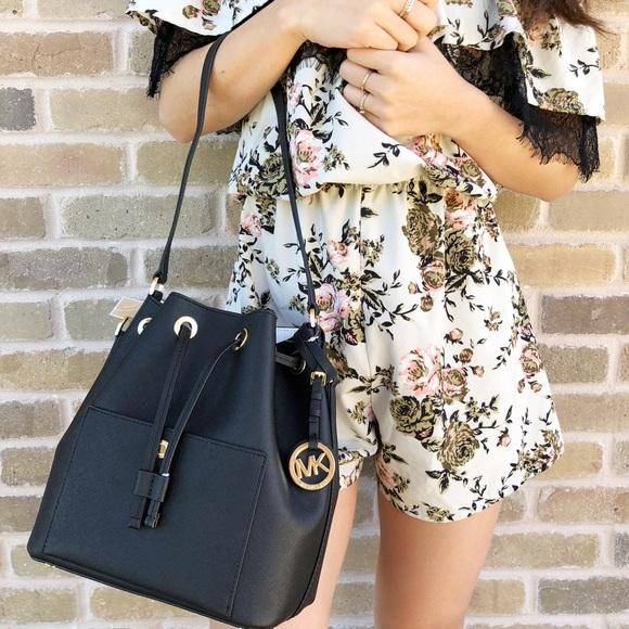 60831a3f40c5 Michael Kors Bags | Greenwich Medium Bucket Bag Black | Poshmark